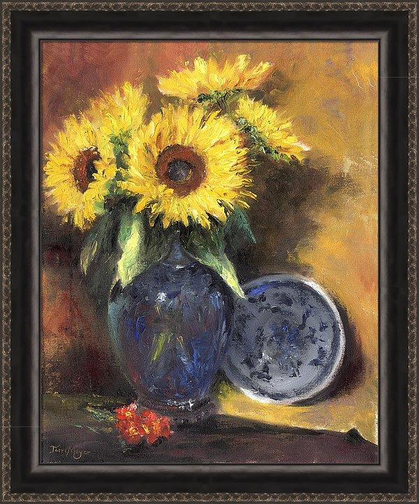 framed Artwork, Framed Sunflower Print, Framed Sunflower Painting