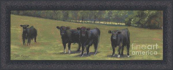 Framed Rural Landscape Print, Cow Painting, Black Angus Print, Framed Artwork