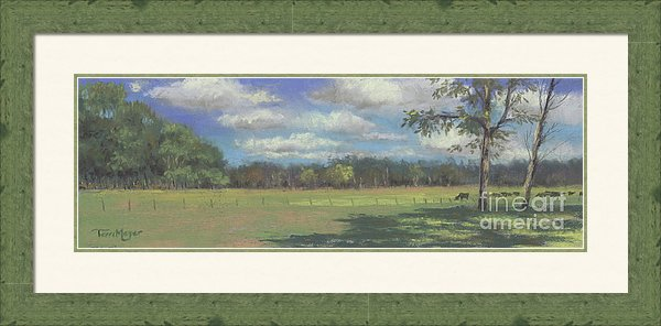 Rural Landscape Painting, Cow Painting, Framed Artwork