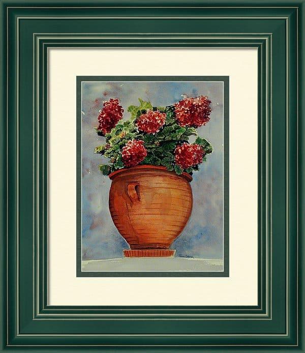 Framed Floral Print, Framed Artwork, Framed Geranium Artwork, Geranium Painting