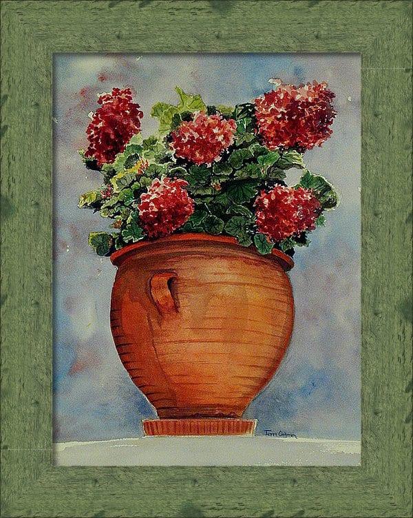 Floral Painting, Framed Artwork, Geranium Painting, Framed Geranium Print
