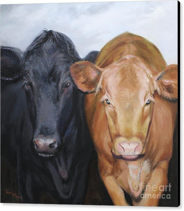 Framed Artwork, Cow Painting, Cow Print