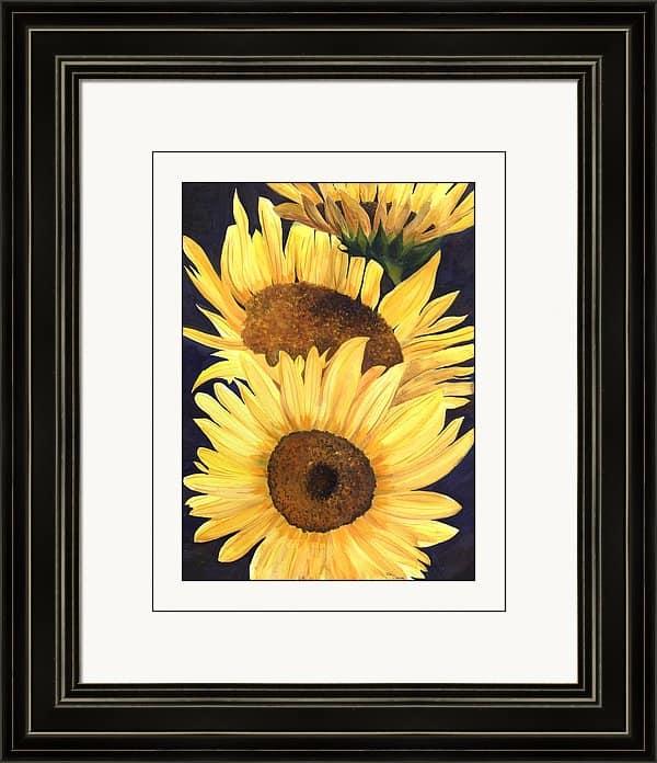 Framed Artwork, Framed Sunflower Print, Framed Sunflower Painting, Framed Sunflower Artwork