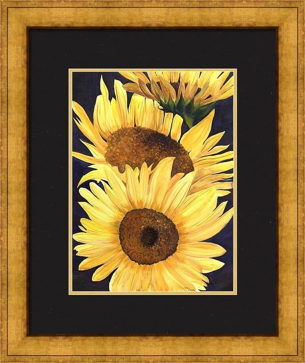 Framed Artwork, Framed Sunflower Painting, Framed Sunflower Print, Framed Sunflower Artwork