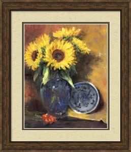 framed artwork, sunflower painting, framed sunflower print