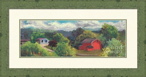Framed Rural Painting, Framed Artwork, Framed Farm Painting