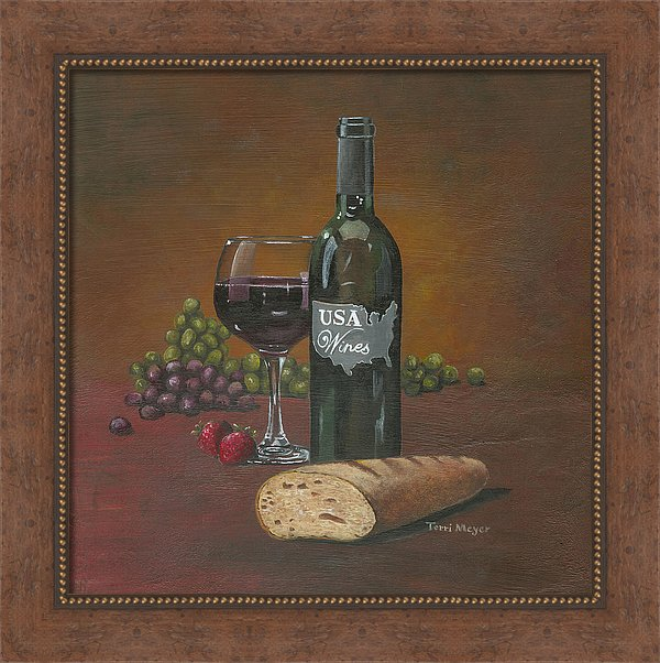 USA Wine Painting, Framed Artwork, Wine Theme Prints