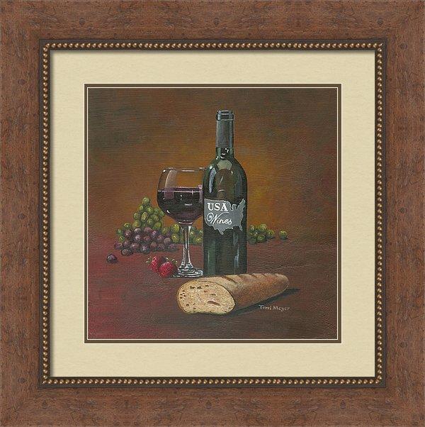 framed artwork, usa wine painting, usa wine print